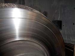 BMW brake rotor with large groove.