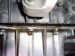 Early stage of oil leaking BMW oil pan